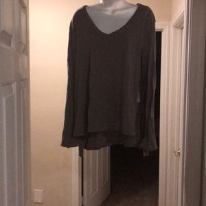 Grey, long sleeve, V neck top by Free people.